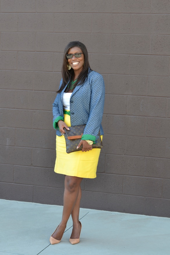 Chambray Blazer and Pencil Skirt