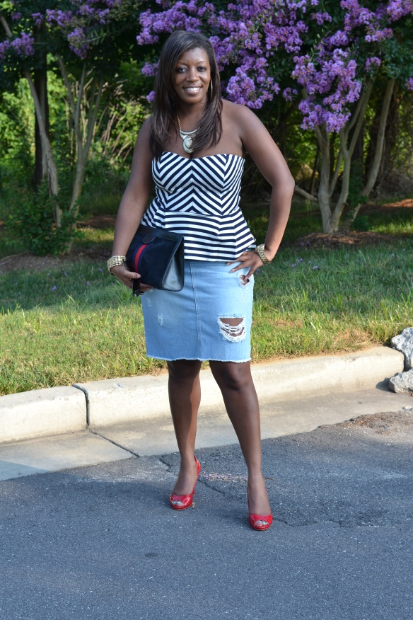 Zara Distressed Denim Pencil Skirt