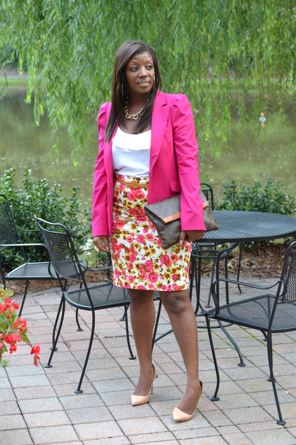 Ann Taylor Pink Floral Pencil Skirt