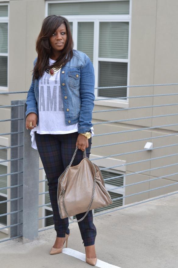 Zara Plaid Skinny Trousers