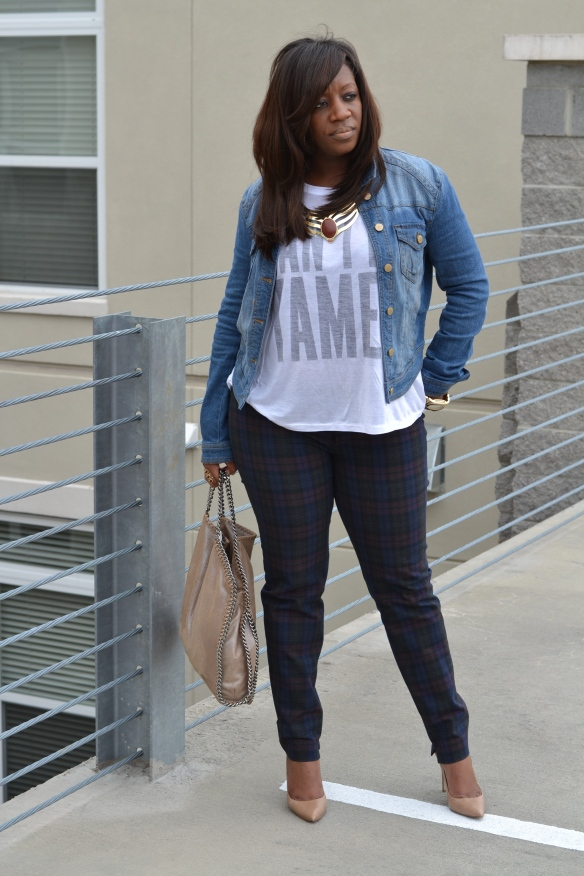 Zara Plaid Skinny Trousers